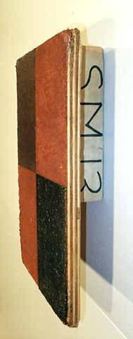 mixed media grid painting on found object