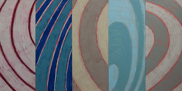 Colorful, geometric, circles, ovals, curvilinear, circular, abstract oil paintings by Burton Rein, Los Angeles.