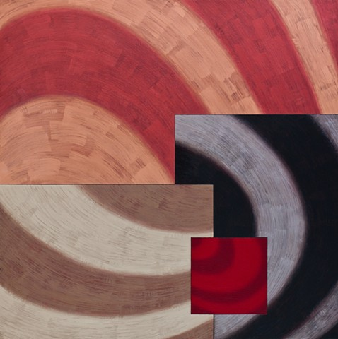 Colorful, geometric, circles, ovals, curvilinear, circular, minimal, texture, abstract, contemporary, modern, art, oil paintings by Burton Rein, Los Angeles.