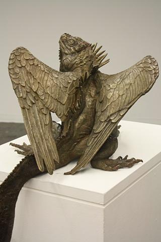 Bronze cast iguana dragon sculpture