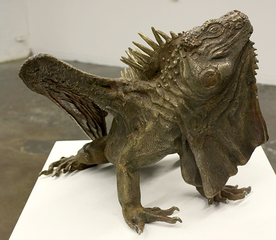 Bronze cast iguana dragon sculpture