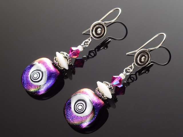 Magenta & Purple Hypnotic Eye Earrings