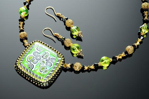 Gustav Klimt Inspired Fused Glass Necklace & Earring Set