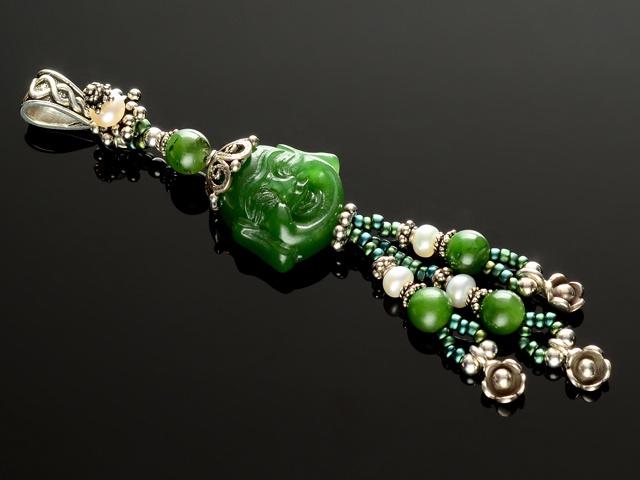 Jade & Pearl Buddha Pendant