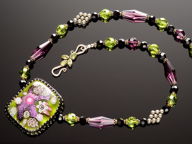 Olivine Glass Garden Necklace