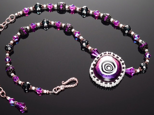 Magenta Hypnotic Eye Necklace