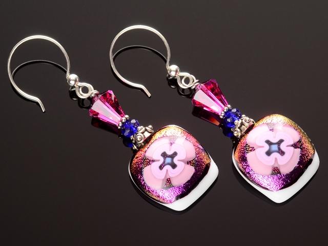 Pink & Cobalt Buttercup Flower Earrings