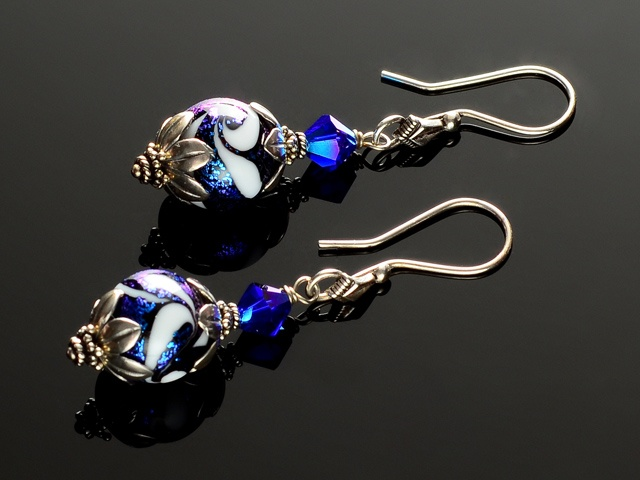 Blue Dichroic Feathered Glass Earrings