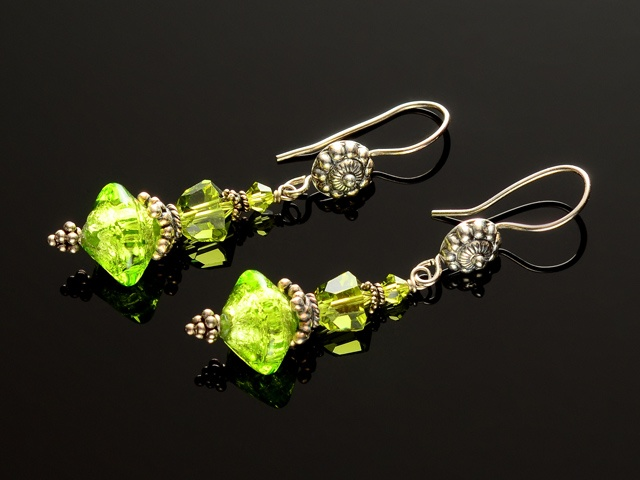 Olivine Venetian & Austrian Earrings