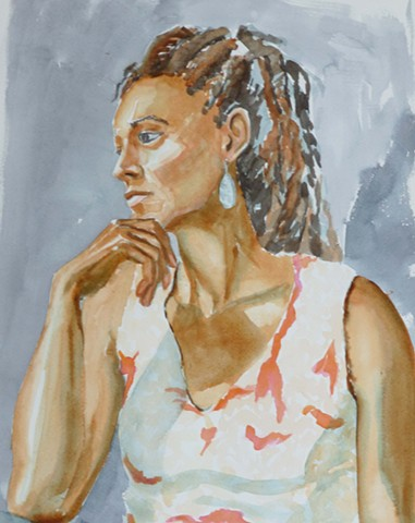watercolor of a sitting woman looking to her right and down