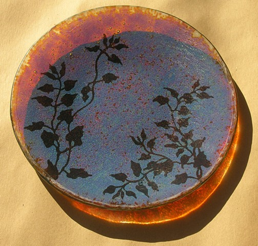 glass platter with stencil technique and frit melted together in the kiln