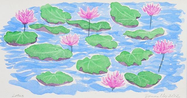 watercolor of a pond of lotus in Thailand