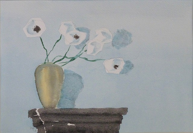 white flowers on a dark shelf against a sea-blue wall with shadows, watercolor