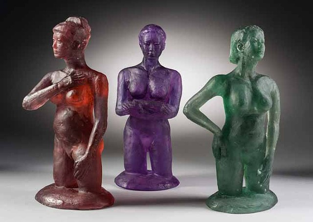 kiln cast Bullseye glass statues with restrained but emotional gestures