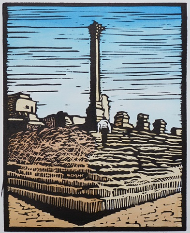 archaeological temple in Roman ruin of Palmyra, Syria, block print with color