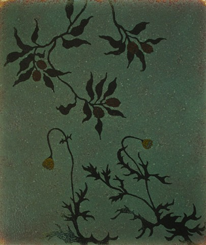 stencil and frit, glass, foliage with berries, glass enamels