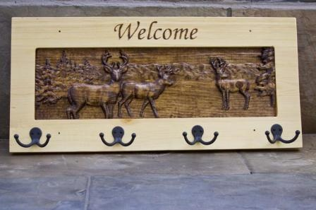 Wood carved deer, buck, wIldlife, nature scene coat rack Wildlife