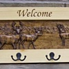 Carved Deer in the Mountains Coat Rack