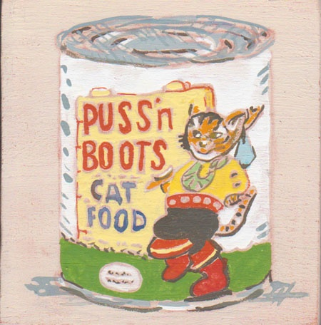 painting of vintage cat food container