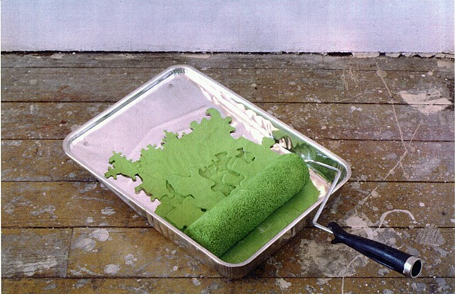 """Wrong color,"" from Brooklyn Room at Eyewash Gallery, 1999. Jigsaw puzzle pieces, paint, paint roller, roller tray."