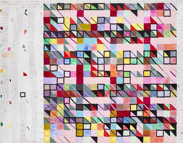 Acrylic gouache and graphite on panel, text, geometric, art, artist, grid, color, Leslie Roberts