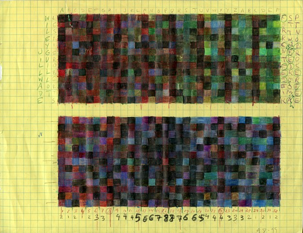 contemporary painting, drawing, graph paper, text art, conceptual art, geometric painting, color, grid