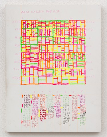 contemporary painting, text art, conceptual art, geometric painting, color, grid