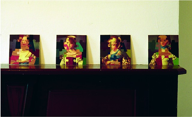 Girl Series on mantel, Brooklyn Room, Eyewash Gallery, Brooklyn, NY