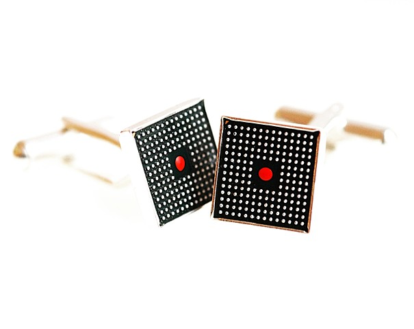 Cufflinks - circuit board and silver