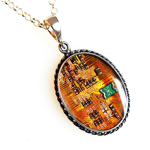 Necklace - circuit board and silver