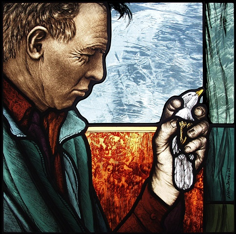 Man holding a bird in his hand, profile; colorful patterns, textures; painted in stained glass by Debora Coombs; contemporary art, a traditional, medieval medium. Made from mouth blown colored glass, hand-painted & stained, kiln-fired, assembled & soldere