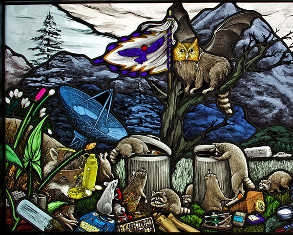 stained glass window with raccoons wearing owl mask and bat wings colorful glass lead electronic components valves rat with flashlight record player