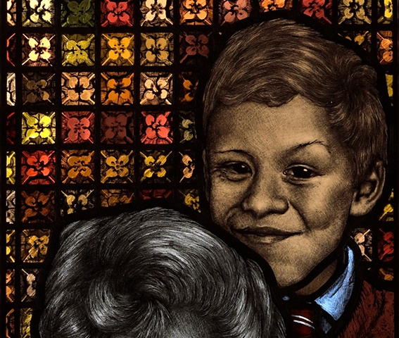 Portrait of British sculptor William Redgrave, cheeky young boy in 1950's school uniform with colorful background patterns, textures; painted in stained glass by Debora Coombs.