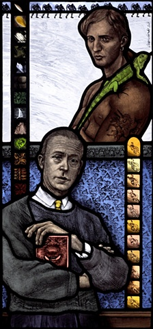 Portrait of Sir William Coldstream, young man with lizard and unicorn tattoo, Superman, stained glass knitted sweater; colorful patterns, textures; hand painted stained glass by Debora Coombs.
