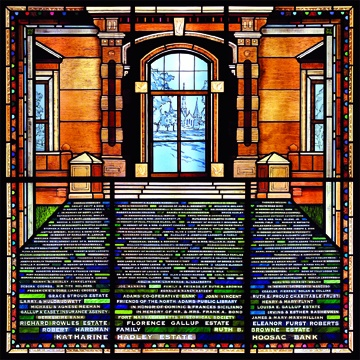 Stained glass donor recognition window for North Adams Public Library by Debora Coombs stained glass for public buildings colorful patterns, textures; traditional, medieval, colored glass, hand-painted & stained, kiln-fired. Donor names painted in stained