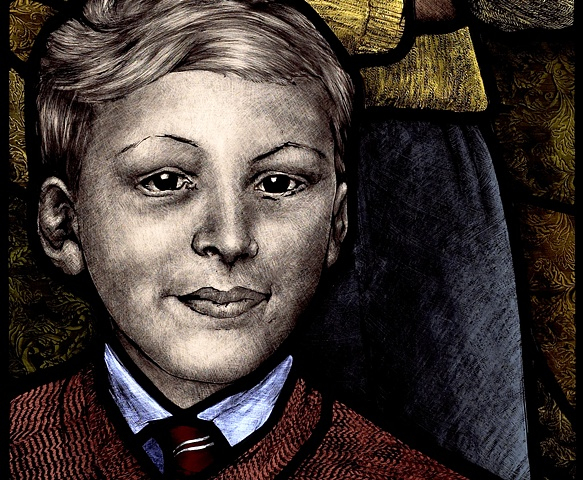 1950's British school boy in school uniform with short back & sides haircut painted in stained glass by Debora Coombs