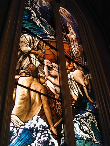 Jesus Stills the Storm stained glass window Marble Collegiate Church NY by Debora Coombs handpainted