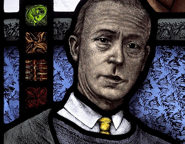 Portrait of British painter Sir William Coldstream with yellow tie and green chick embryo; hand painted stained glass by Debora Coombs.
