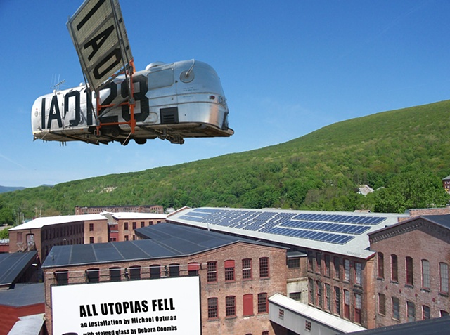 "space satellite homemade from 1970�s Airstream trailer  flying over MASS MoCA �Michael Oatman"" at Massachusetts Museum of Contemporary Art. Twelve 12 raccoons �All Utopias Fell� fictitious 1970�s amateur astronaut"