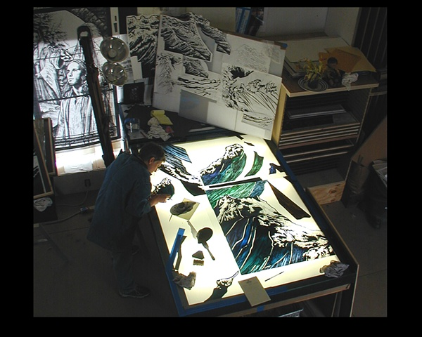 Painting at the light table