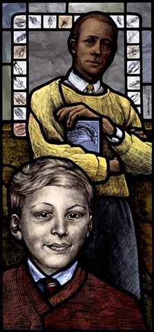 Portrait of British painter Sir William Coldstream with falcon and feathers wearing a yellow tie and sweater. 1960's portrait of Richard Coombs in Ludlow (Southampton, England) School uniform. Hand painted stained glass by Debora Coombs.