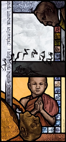 Portrait of Henry Moore in stained glass; sanskrit; medieval devils; young buddhist monk praying; leaping figures from Muybridge sequence; man lying dead or sleeping; colorful patterns, textures; painted in stained glass by Debora Coombs