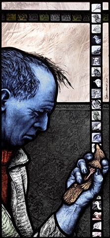 Man with blue skin; blue man; holding bird in hand. Chicks, chick embryos, soft grey, gray pink transparent glass; colorful patterns, textures; hand painted stained glass by Debora Coombs; contemporary art, traditional, medieval style stained glass. Paint