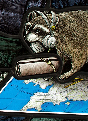 stained glass window by Debora Coombs with raccoon wearing headphones, reading map of England
