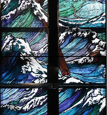 Jesus Stills the Storm, calms the storm. Stained glass window by Debora Coombs for Marble Collegiate Church New York