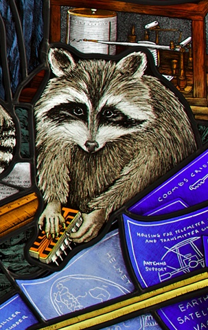Stained glass raccoon with Sprague electronic component, blueprints, ruler & hygrometer in stained glass