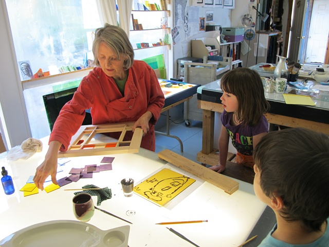 teaching stained glass painting to children