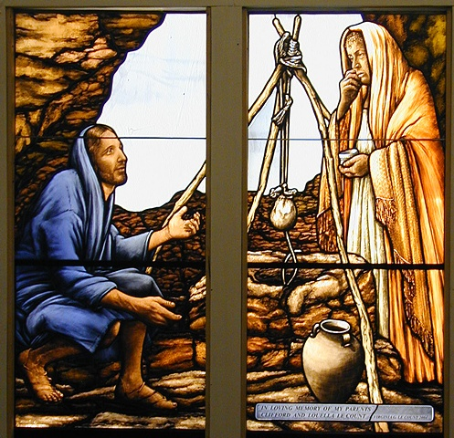 Woman at the Well. Stained glass window by Debora Coombs for Marble Collegiate Church New York handpainted