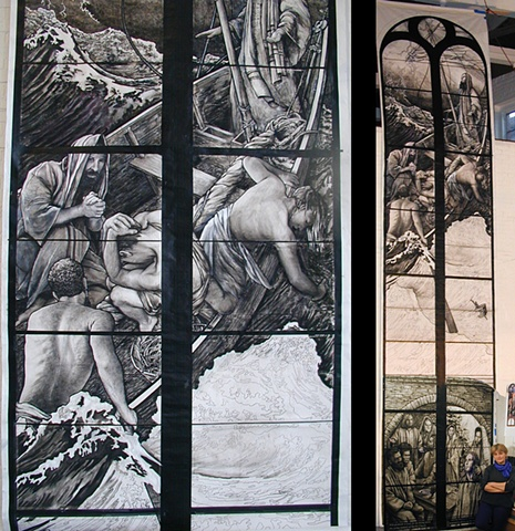 25ft high charcoal drawing of Jesus standing in a boat with disciples crouching, falling, praying. Full-sized cartoon for stained glass window by Debora Coombs. Contemporary art, traditional, medieval style stained glass.