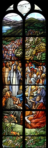Jesus Gives the Sermon on the Mount. Stained glass window by Debora Coombs for Marble Collegiate Church New York